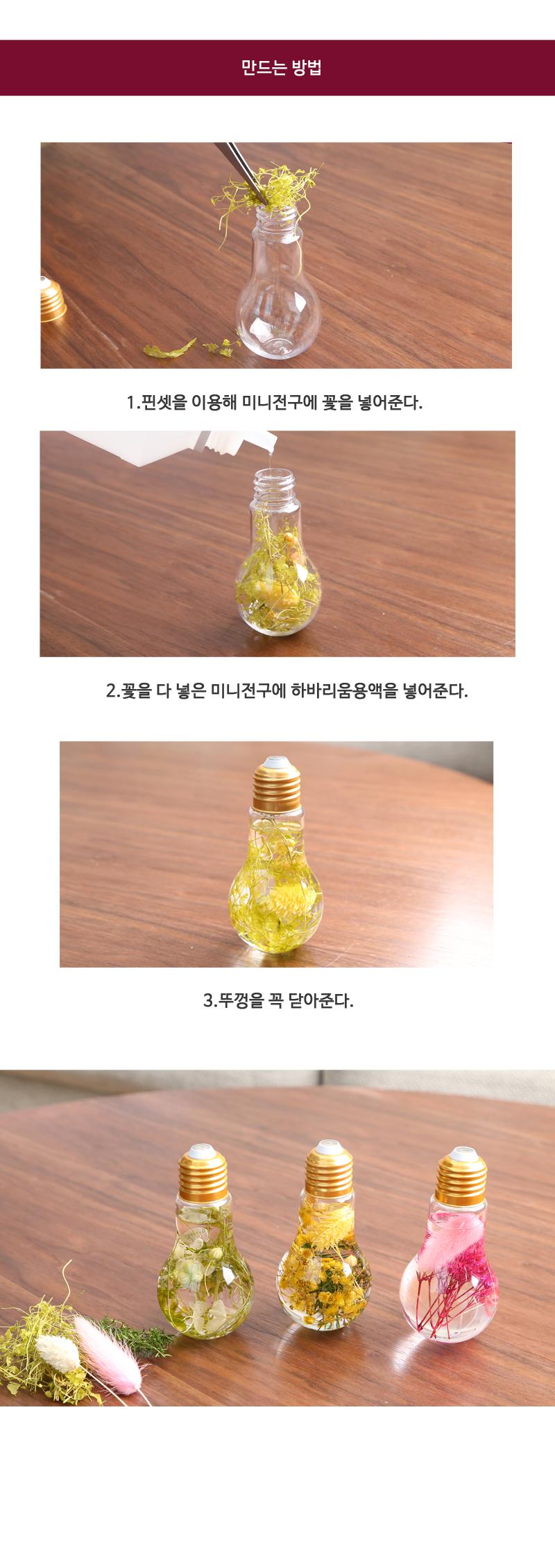 미니전구 하바리움만들기 DIY - 빼꼬빼꼬, 35,000원, 조화, 프리저브드